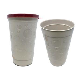 Vaso burbuja grande con tapa, café.