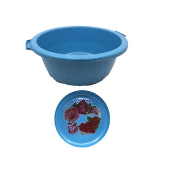 Tina romanita tipo peltre #00, azul, 29 x 11.5 cm.