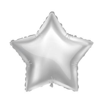 Globo estrella metálico plateado, 43 X 43 cm.