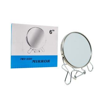 Espejo redondo con base metalica 6 pulgadas, dos aumentos