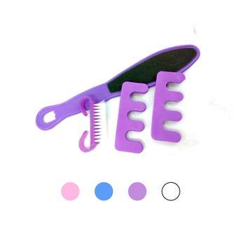Set de pedicure, con 1 lima, 1 cepillo y 2 separadores de dedos.