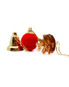Adornos de NAVIDAD, 3 modelos surtidos, piña, esfera y campana 3 cm aprox