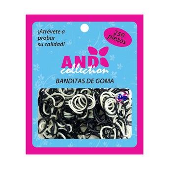Liga para cabello de húle AND, bolsa con 250 pz, blanco y negro.