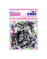 Liga para cabello de látex TPU AND, bolsa con 200 pz, blanco y negro.
