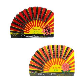 Pasador para cabello en cartón abanico con 48 pz, negro, 5.5 cm.