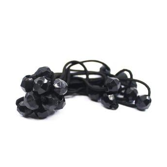 Coletero diamante para cabello en paquete con 10 pz, negro, 10 cm.