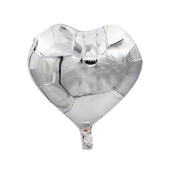 Globo corazón plata, 43 X 43 cm.
