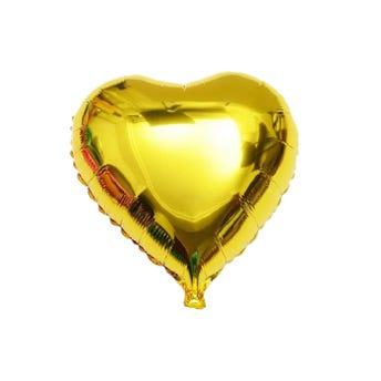 Globo corazón dorado, 45 X 45 cm.