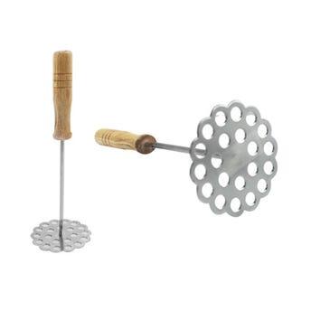 Machacador metálico con mango de madera, 23 cm