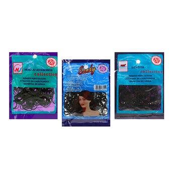 Liga para cabello de húle en bolsa con 200 pz, color negro.