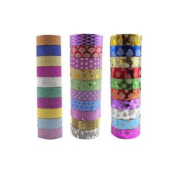 Diurex decorativo de glitter, modelos sujetos a dsponibilidad, 1.4 cm X 3 mts.