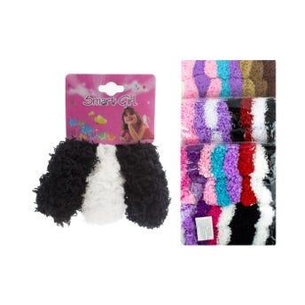 Dona para cabello coco en carton con 3 pz, inner por mod sujeto a disp, colores surt, 5 cm aprox.