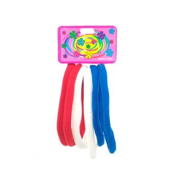 Liga de licra para cabello en cartón con 6 pz jumbo, escolar, 14 cm.