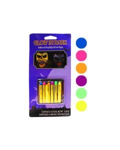 Crayones para Halloween Neón, set de 6 pz, brillan en la obscuridad, 5 cm.