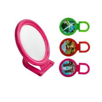 Espejo con base redondo, colores surtidos, 6.5 X 11 cm.