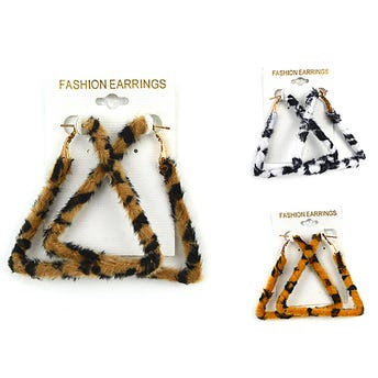 Arete FASHION triángulo textil animal print.