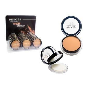 Base para maquillaje en polvo PINK 21 con fps 15, espejo y aplicador 11 grs