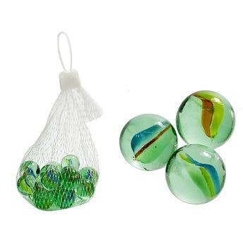 Canica, juego de 20 pz, verde agua 1.5 cm.