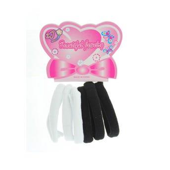 Liga de licra para cabello, jumbo, set de 6 pz, blanco y negro, 7 cm.