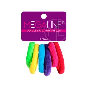 Liga para cabello de licra grande, MEGALINE, cartón con 6 pz, fiesta, 5.5 cm.