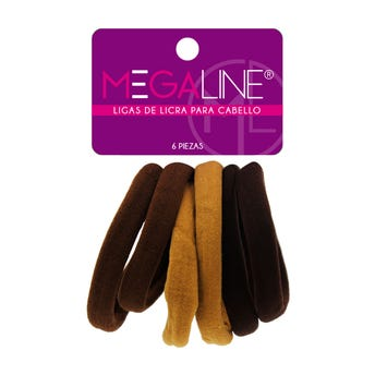 Liga para cabello de licra grande, MEGALINE, cartón con 6 pz, café, 5.5 cm.