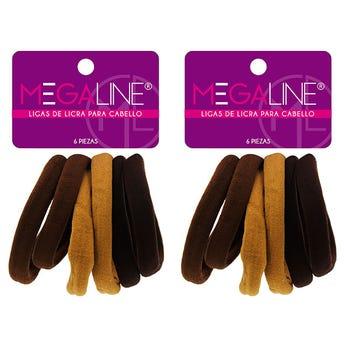 Liga para cabello de licra Jumbo MEGALINE, cartón con 6 pz, café, 6.5 cm.