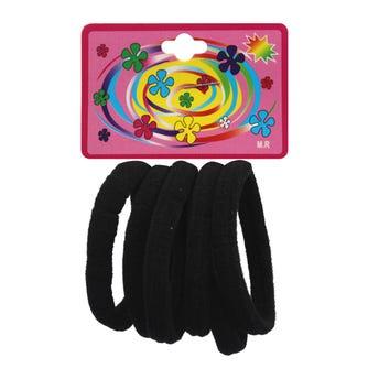 Liga de licra para cabello en cartón con 6 pz grande, negro, 6 cm.