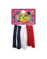 Liga de licra para cabello en cartón con 6 pz grande, escolar, 6.5 cm.