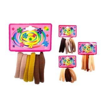 Liga de licra para cabello en cartón con 6 pz grande, café, inner por comb suj a disp, 6.5 cm.