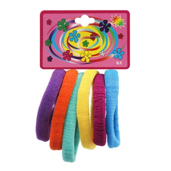 Liga de licra para cabello en cartón con 6 pz grande, fiesta, 6 cm.