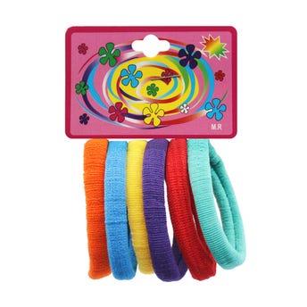 Liga de licra para cabello en cartón con 6 pz mediana, fiesta, 5 cm.