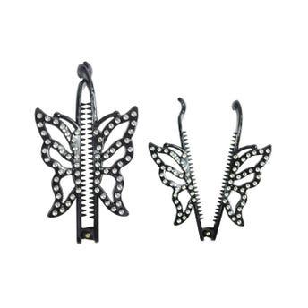Banana para cabello con mariposa y decoraciones tipo brillantes,  color negro, 12 cm