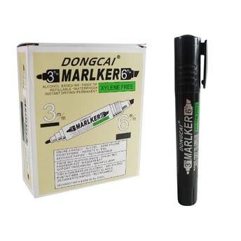 Marcador recargable de doble punta, Dongcai, tinta permanente negra.