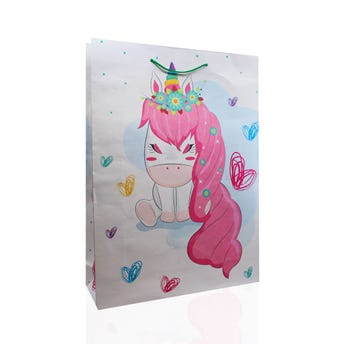 Bolsa para regalo extra jumbo confeti, modelos surtidos, 43 X 32 X 10 cm.