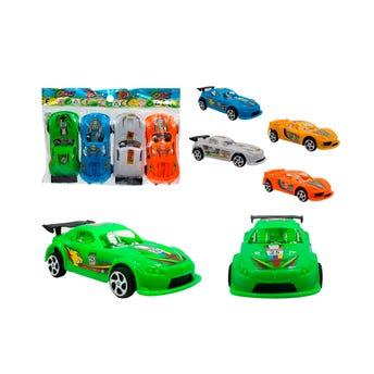 Carros de juguete en paquete de 4 pz, colores surtidos, 10 X 4.5 cm.