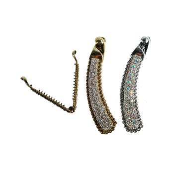 Banana para cabello oro y plata surtidos con cristales, 11 cm