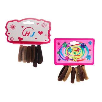 Liga de licra para cabello en cartón con 6 pz chica, café, inner por comb suj a disp, 3 cm.