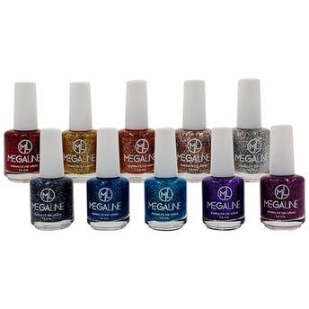 Esmalte Para Uñas Con Glitter Megaline, Colores Surtidos 16 Ml.