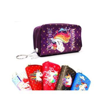 Monedero doble sierre con decorado de unicornios, modelos y coloress surtidos, 11 X 7 X 4 cm.