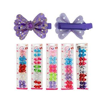 Pinzas para cabello caimán moño en cartón con 10 pz, modelos surtidos, 4 cm