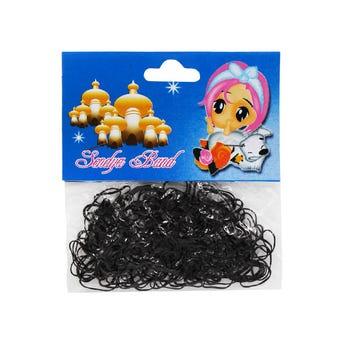 Bolsa de 180 ligas para cabello de látex color negro.
