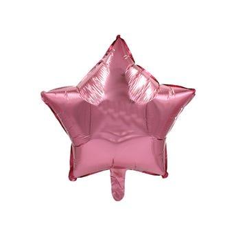 Globo estrella metálico rosa, 43 X 43 cm.