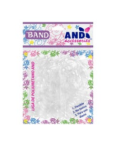 Ligas para cabello de látex TPU AND, bolsa con 200 pz, transparente.