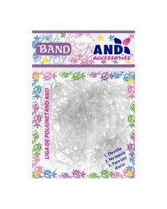 Ligas para cabello de látex TPU AND, bolsa con 200 pz, transparente ahumado.