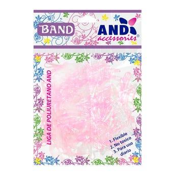 Ligas para cabello de látex TPU AND, bolsa con 200 pz, transparente y rosa.