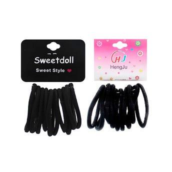 Ligas para cabello selladas en cartón con 10 pz, negro, 6 cm.