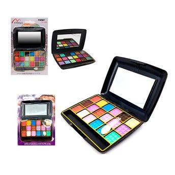 Sombra para ojos, paleta con 18 colores con espejo, inner por mod sujeto a disp, 10 X 7 cm.