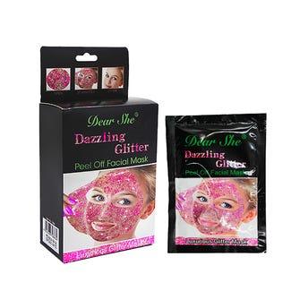 Mascarilla facial con glitter, DEAR SHE, rosa, 18 grs.