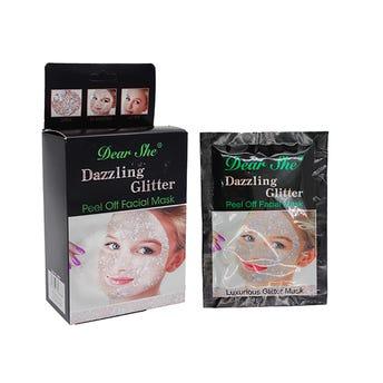 Mascarilla facial con glitter, DEAR SHE plateada, 18 grs.