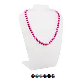 Collar de perlas con broche, colores surtidos, 20 cm